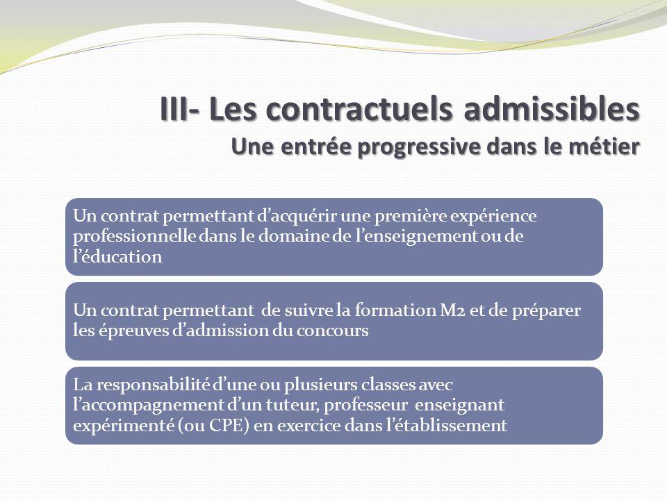 Un contrat permettant dacquérir une première expérience professionnelle dans le domaine de lenseignement ou de léducation Un contrat permettant de sui