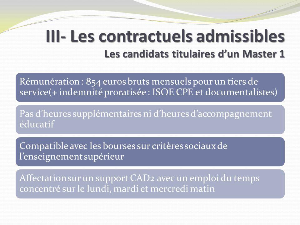 III- Les contractuels admissibles Les candidats titulaires dun Master 1 III- Les contractuels admissibles Les candidats titulaires dun Master 1 Rémuné