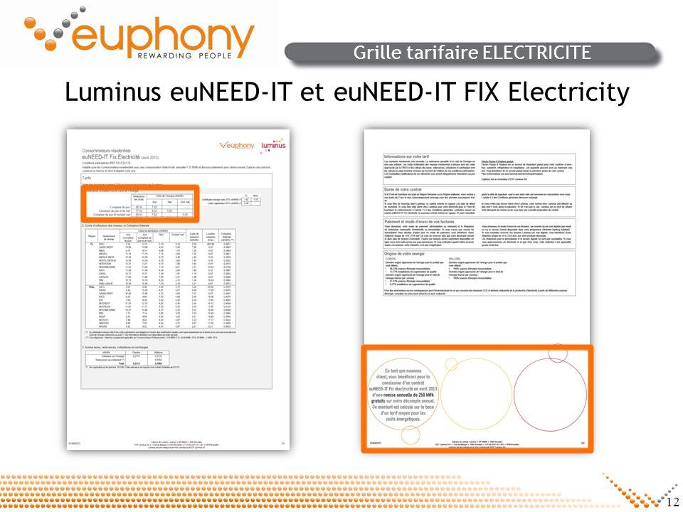 12 Grille tarifaire ELECTRICITE Luminus euNEED-IT et euNEED-IT FIX Electricity