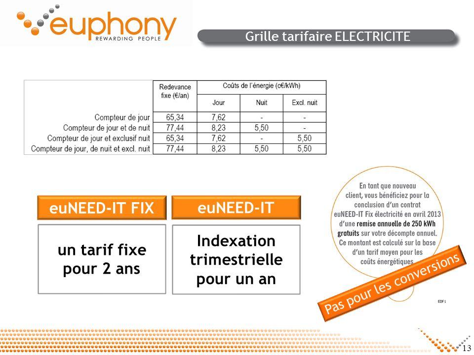 13 Grille tarifaire ELECTRICITE euNEED-IT FIX un tarif fixe pour 2 ans euNEED-IT Indexation trimestrielle pour un an Pas pour les conversions