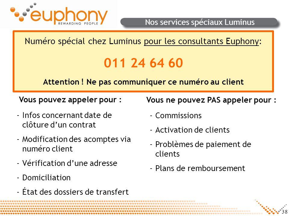 38 Nos services spéciaux Luminus -Infos concernant date de clôture dun contrat -Modification des acomptes via numéro client -Vérification dune adresse