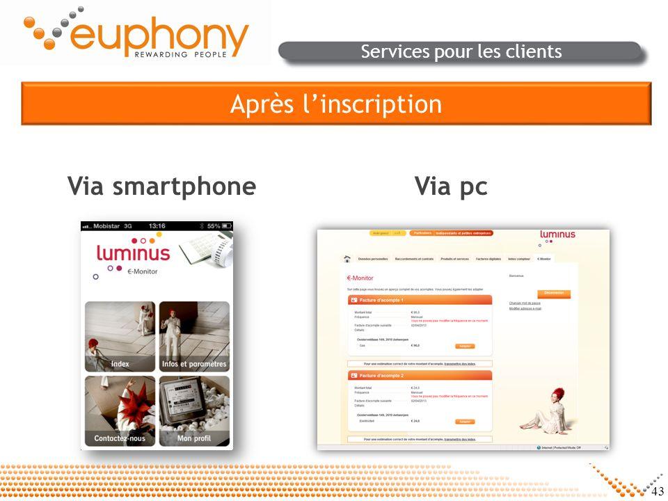 43 Services pour les clients Après linscription Via smartphoneVia pc