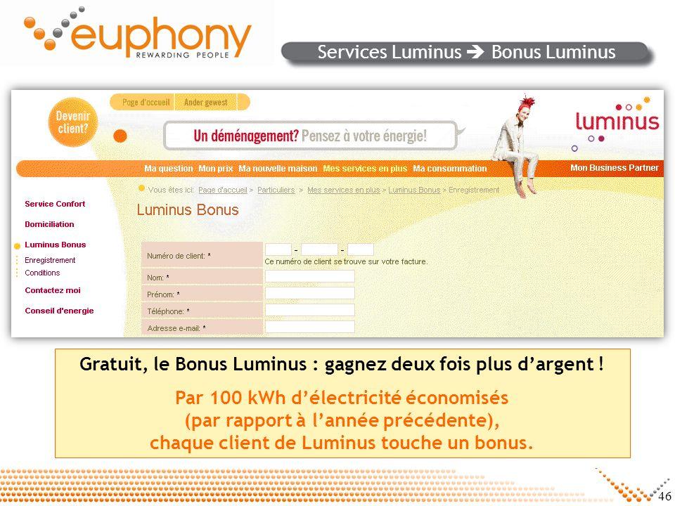 46 Services Luminus Bonus Luminus Gratuit, le Bonus Luminus : gagnez deux fois plus dargent ! Par 100 kWh délectricité économisés (par rapport à lanné