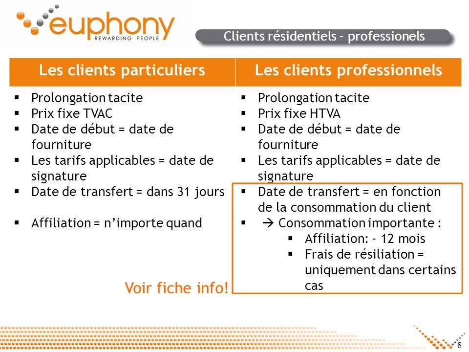 8 Clients résidentiels - professionels Les clients particuliersLes clients professionnels Prolongation tacite Prix fixe TVAC Date de début = date de f