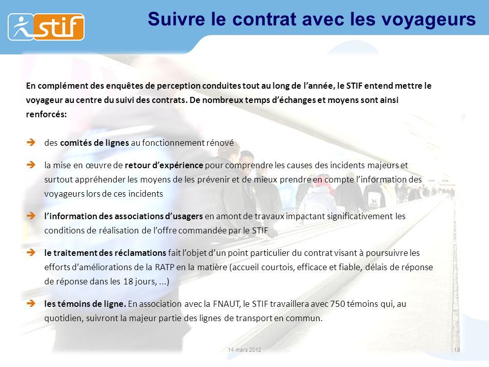 Suivre le contrat avec les voyageurs En complément des enquêtes de perception conduites tout au long de lannée, le STIF entend mettre le voyageur au c