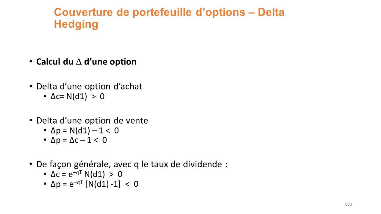 Couverture de portefeuille doptions – Delta Hedging Calcul du dune option Delta dune option dachat Δc= N(d1) > 0 Delta dune option de vente Δp = N(d1) – 1 < 0 Δp = Δc – 1 < 0 De façon générale, avec q le taux de dividende : Δc = e –qT N(d1) > 0 Δp = e –qT [N(d1) -1] < 0 103