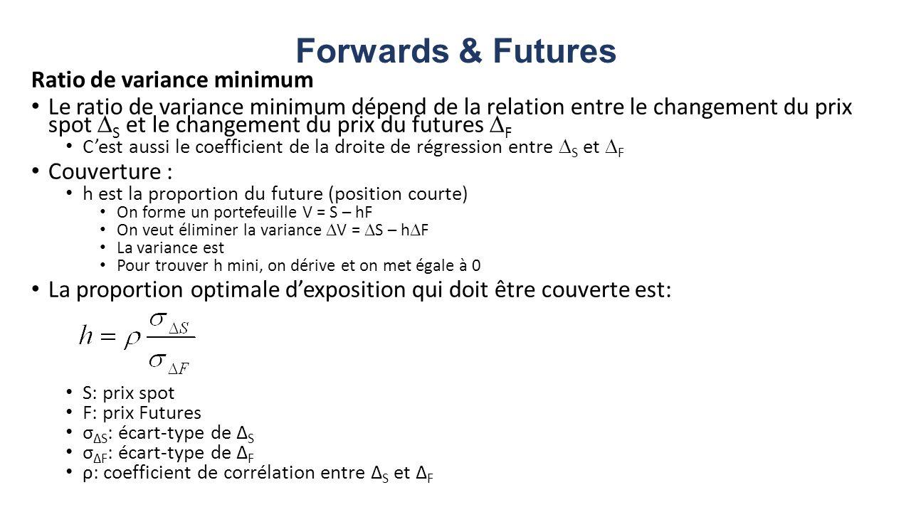 Forwards & Futures Ratio de variance minimum Le ratio de variance minimum dépend de la relation entre le changement du prix spot S et le changement du prix du futures F Cest aussi le coefficient de la droite de régression entre S et F Couverture : h est la proportion du future (position courte) On forme un portefeuille V = S – hF On veut éliminer la variance V = S – h F La variance est Pour trouver h mini, on dérive et on met égale à 0 La proportion optimale dexposition qui doit être couverte est: S: prix spot F: prix Futures σ ΔS : écart-type de Δ S σ ΔF : écart-type de Δ F ρ: coefficient de corrélation entre Δ S et Δ F