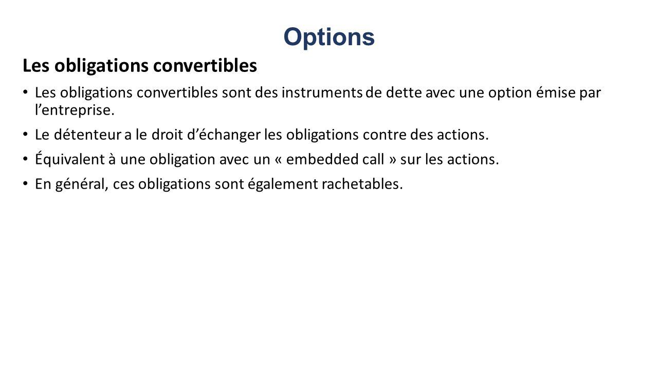 Options Les obligations convertibles Les obligations convertibles sont des instruments de dette avec une option émise par lentreprise. Le détenteur a