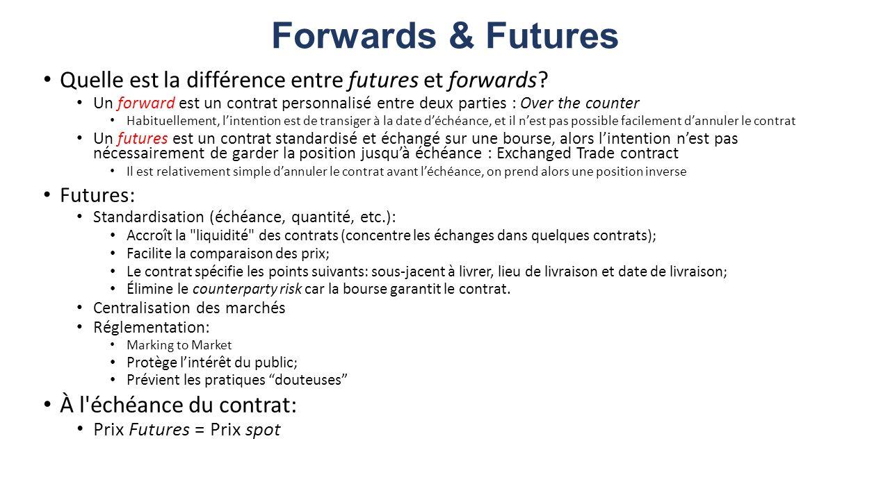 Forwards & Futures Quelle est la différence entre futures et forwards? Un forward est un contrat personnalisé entre deux parties : Over the counter Ha