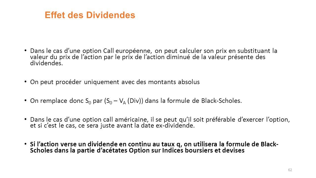 Effet des Dividendes Dans le cas dune option Call européenne, on peut calculer son prix en substituant la valeur du prix de laction par le prix de laction diminué de la valeur présente des dividendes.