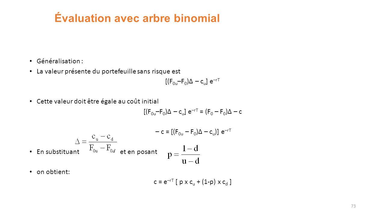 Évaluation avec arbre binomial Généralisation : La valeur présente du portefeuille sans risque est [(F 0u –F 0 )Δ – c u ] e –rT Cette valeur doit être égale au coût initial [(F 0u –F 0 )Δ – c u ] e –rT = (F 0 – F 0 )Δ – c – c = [(F 0u – F 0 )Δ – c u )] e –rT En substituant et en posant on obtient: c = e –rT [ p x c u + (1-p) x c d ] 73