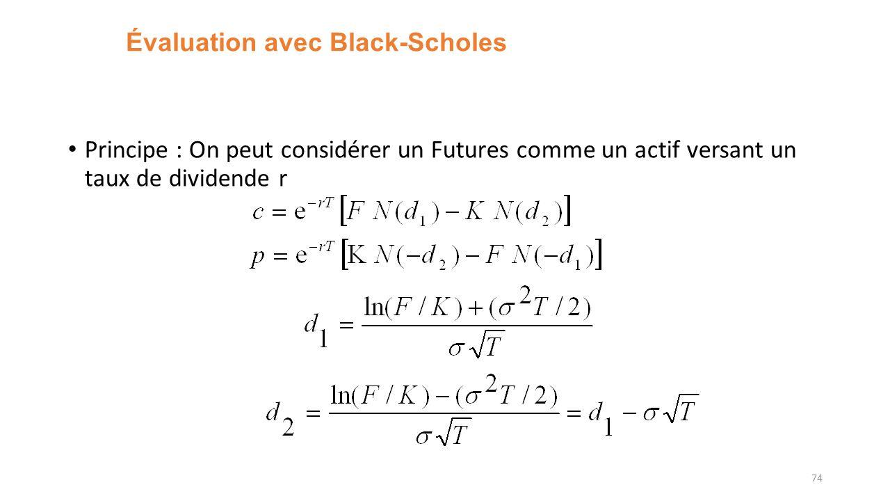 Évaluation avec Black-Scholes Principe : On peut considérer un Futures comme un actif versant un taux de dividende r 74