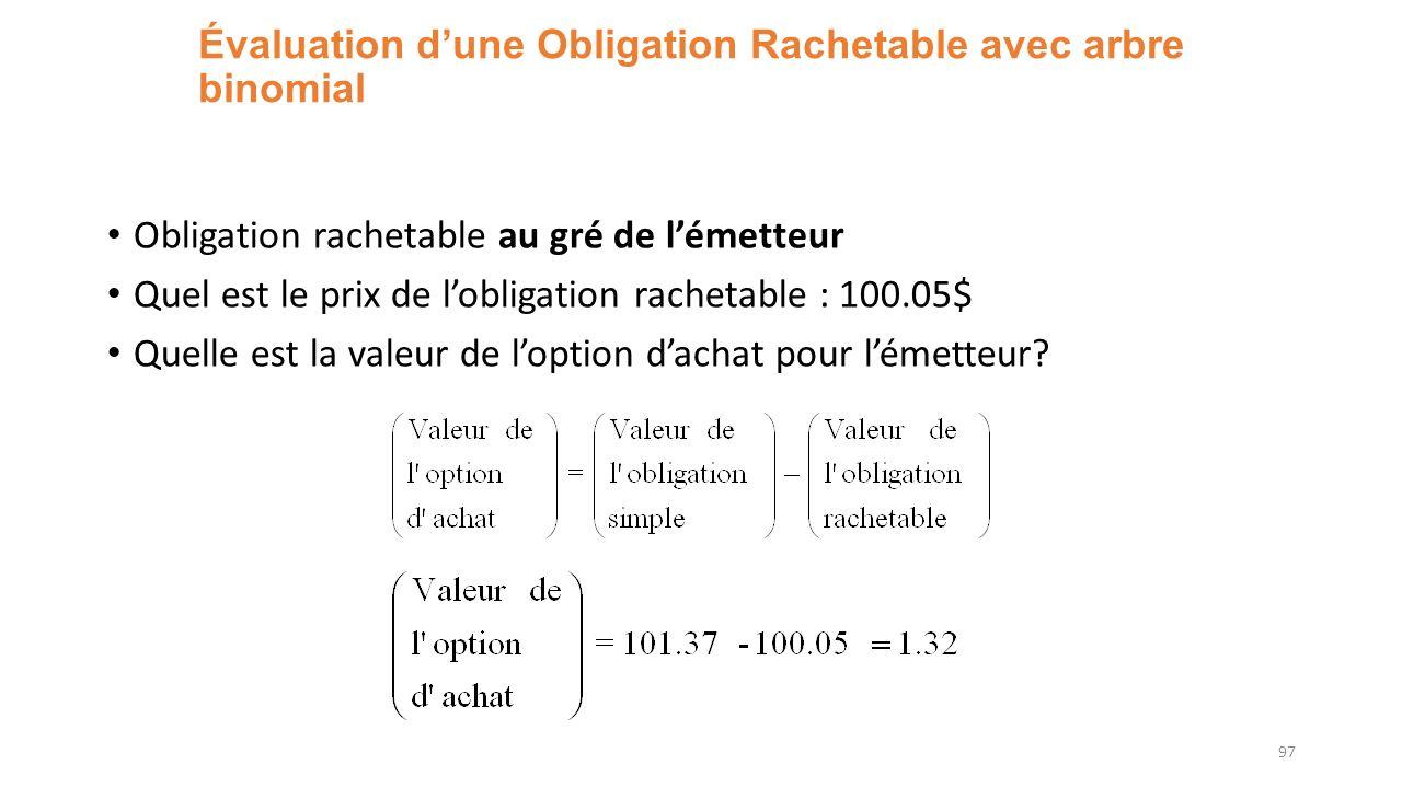 Évaluation dune Obligation Rachetable avec arbre binomial Obligation rachetable au gré de lémetteur Quel est le prix de lobligation rachetable : 100.05$ Quelle est la valeur de loption dachat pour lémetteur.