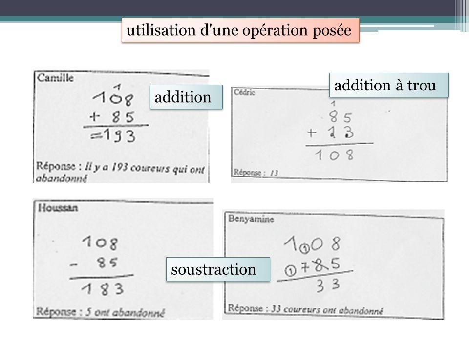utilisation d'une opération posée addition addition à trou soustraction