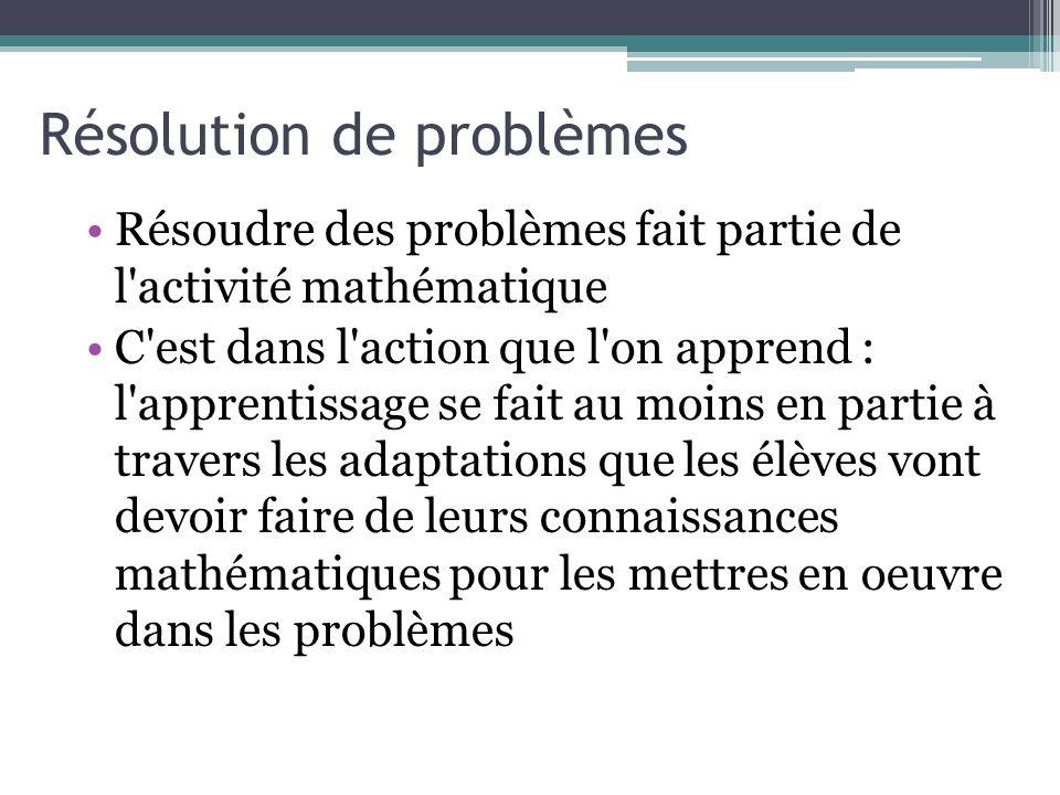 Résolution de problèmes Résoudre des problèmes fait partie de l'activité mathématique C'est dans l'action que l'on apprend : l'apprentissage se fait a