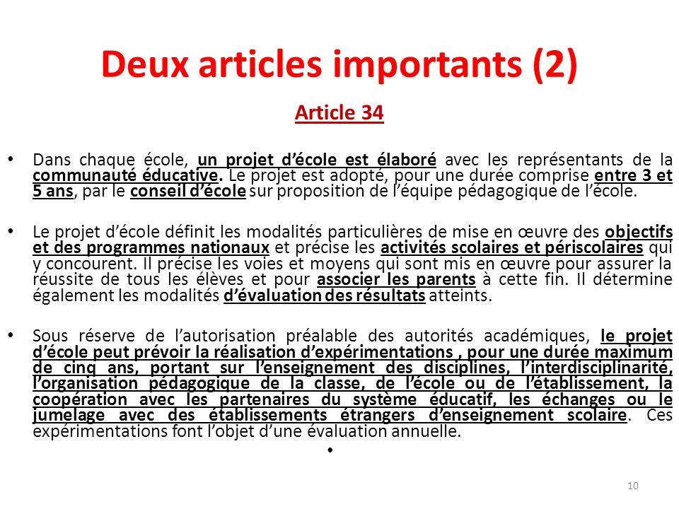 Deux articles importants (2) Article 34 Dans chaque école, un projet décole est élaboré avec les représentants de la communauté éducative. Le projet e
