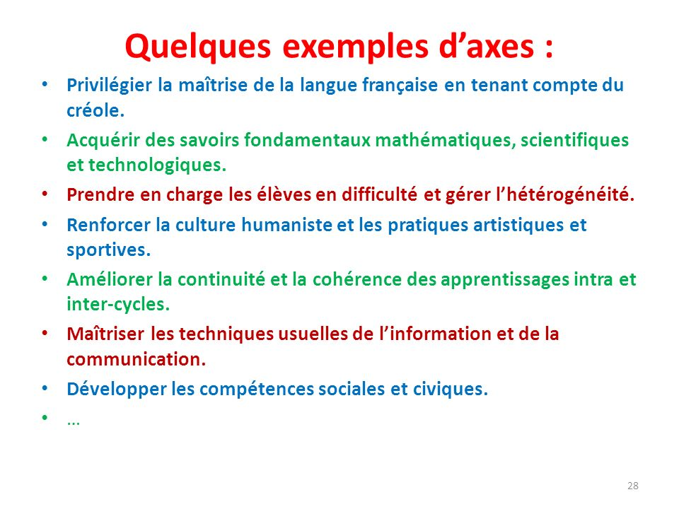 Quelques exemples daxes : Privilégier la maîtrise de la langue française en tenant compte du créole. Acquérir des savoirs fondamentaux mathématiques,