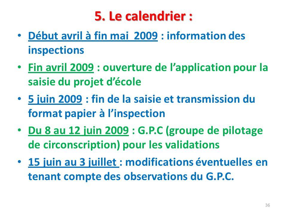 5. Le calendrier : Début avril à fin mai 2009 : information des inspections Fin avril 2009 : ouverture de lapplication pour la saisie du projet décole