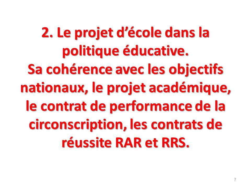 2. Le projet décole dans la politique éducative. Sa cohérence avec les objectifs nationaux, le projet académique, le contrat de performance de la circ