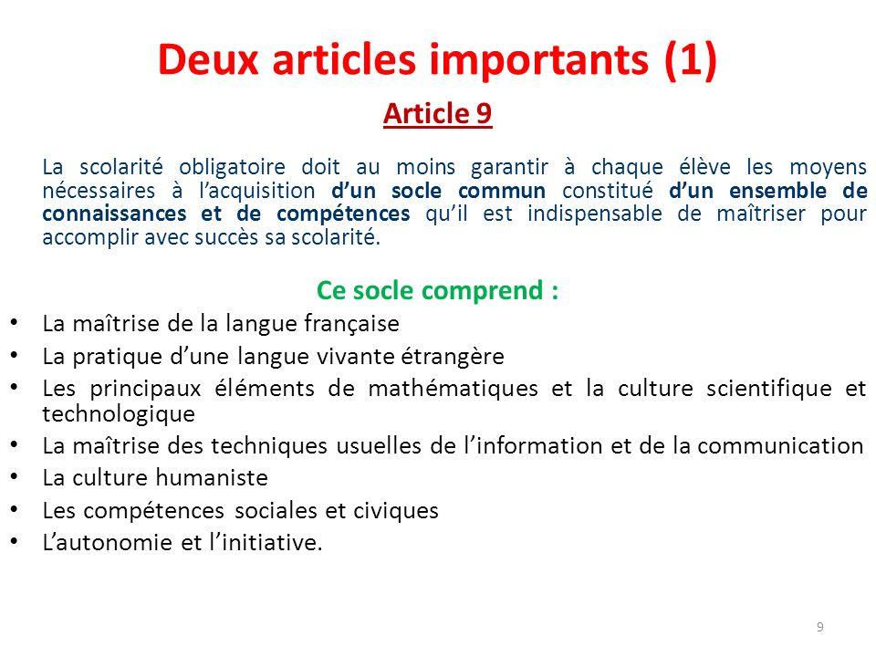 Deux articles importants (1) Article 9 La scolarité obligatoire doit au moins garantir à chaque élève les moyens nécessaires à lacquisition dun socle
