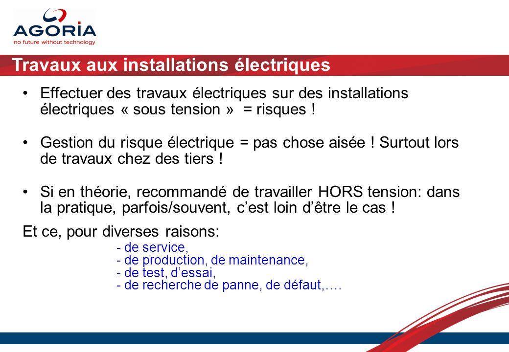 Travaux aux installations électriques Effectuer des travaux électriques sur des installations électriques « sous tension » = risques ! Gestion du risq