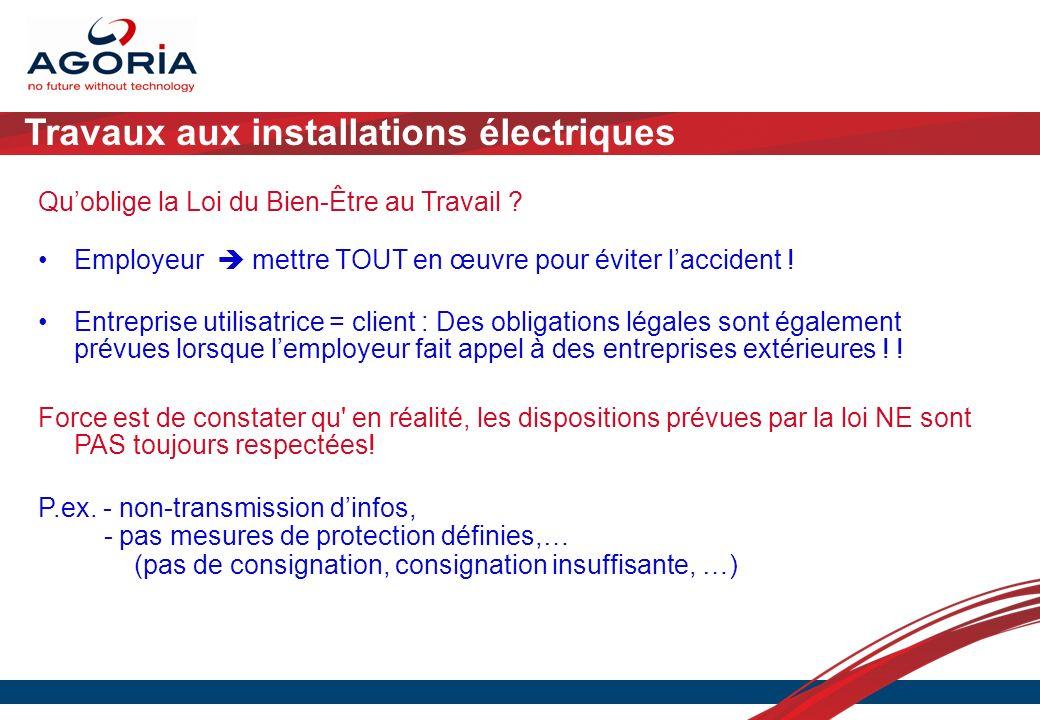 Travaux aux installations électriques Quoblige la Loi du Bien-Être au Travail ? Employeur mettre TOUT en œuvre pour éviter laccident ! Entreprise util
