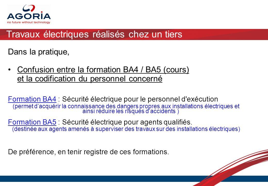 Travaux électriques réalisés chez un tiers Dans la pratique, Confusion entre la formation BA4 / BA5 (cours) et la codification du personnel concerné F