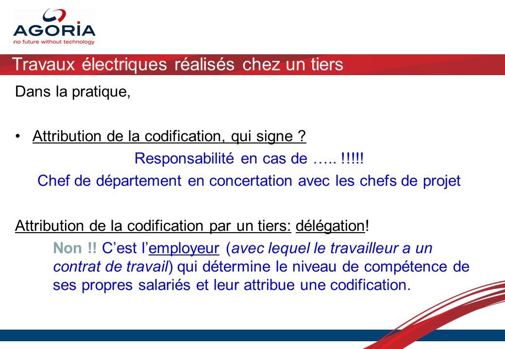 Travaux électriques réalisés chez un tiers Dans la pratique, Attribution de la codification, qui signe ? Responsabilité en cas de ….. !!!!! Chef de dé