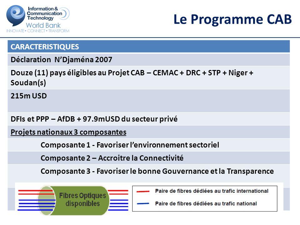 Le Programme CAB 9 CAB1A Cameroun 2009 US$9.9 CAB1A RCA 2009 US$7.3 CAB1A Tchad 2009 US$9 CAB1B RCA 2011 US$20 CAB1B Tchad 2011 US$30 CAB2 STP 2010 US$14.9 CAB3 RoC 2011 US$15 CAB4 Gabon 2012 US$58 CAB5 DRC 2013 US$80