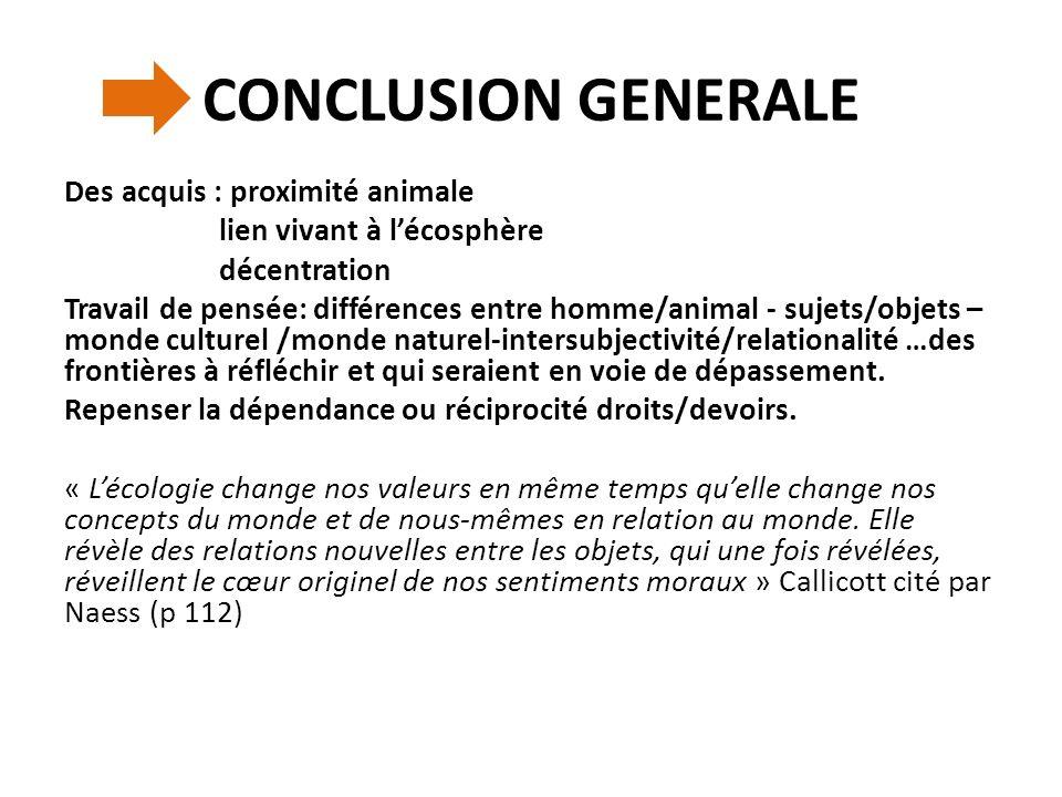 CONCLUSION GENERALE Des acquis : proximité animale lien vivant à lécosphère décentration Travail de pensée: différences entre homme/animal - sujets/ob