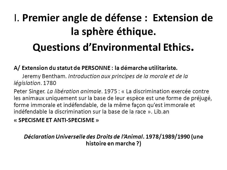 I. Premier angle de défense : Extension de la sphère éthique. Questions dEnvironmental Ethics. A/ Extension du statut de PERSONNE : la démarche utilit