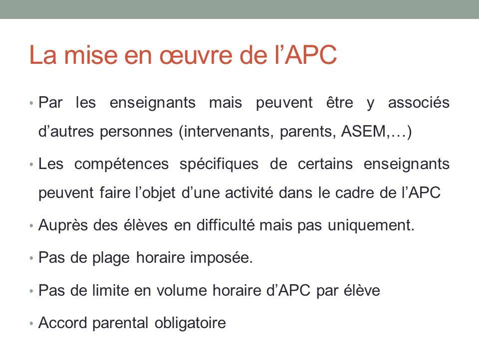La mise en œuvre de lAPC Par les enseignants mais peuvent être y associés dautres personnes (intervenants, parents, ASEM,…) Les compétences spécifiques de certains enseignants peuvent faire lobjet dune activité dans le cadre de lAPC Auprès des élèves en difficulté mais pas uniquement.