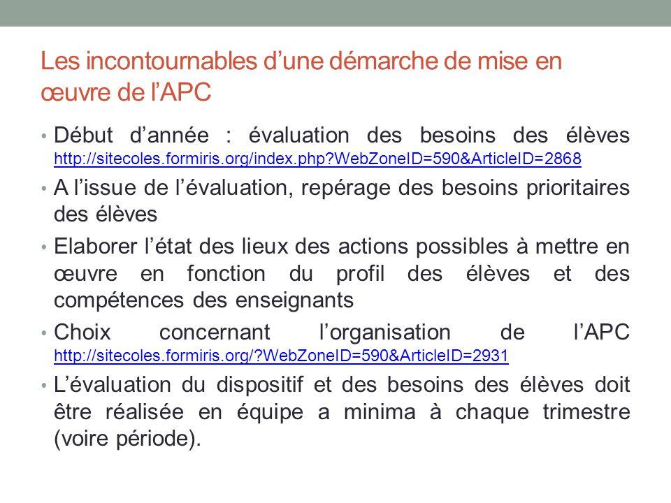 Pour aller plus loin Document SGEC juin 2013 Activité pédagogique complémentaire APC, Aide à lorganisation