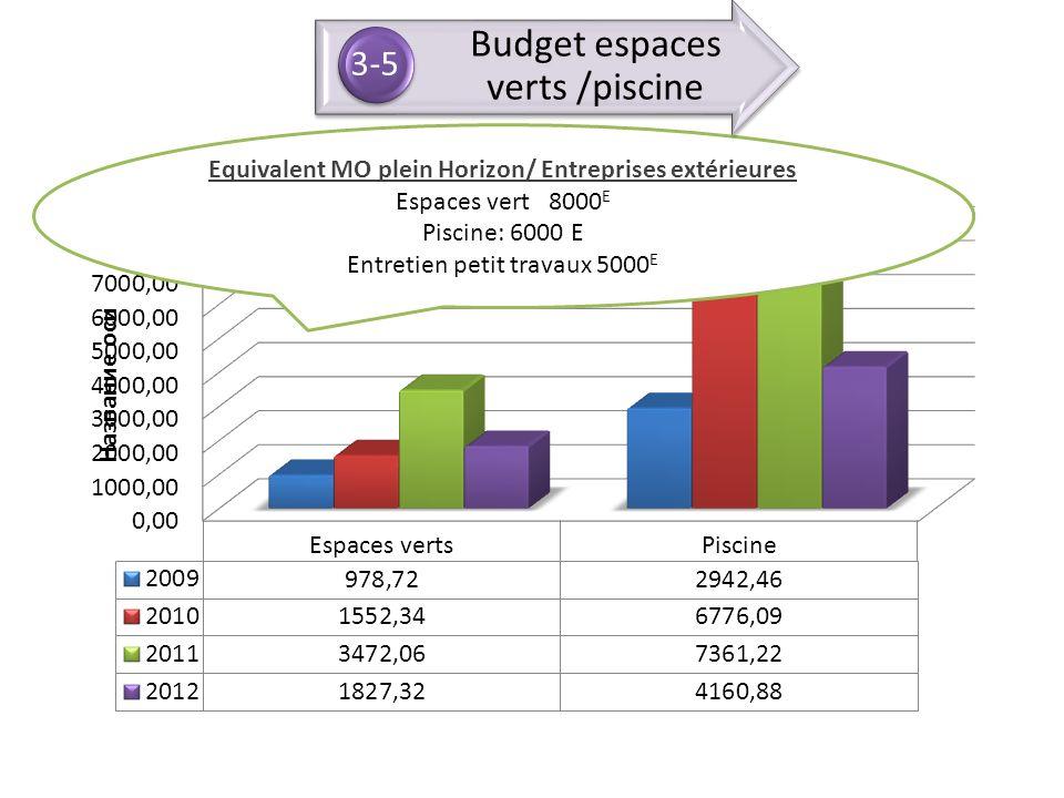 Equivalent MO plein Horizon/ Entreprises extérieures Espaces vert 8000 E Piscine: 6000 E Entretien petit travaux 5000 E Budget espaces verts /piscine
