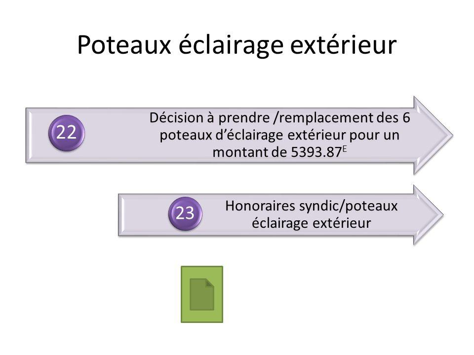 Décision à prendre /remplacement des 6 poteaux déclairage extérieur pour un montant de 5393.87 E 22 Honoraires syndic/poteaux éclairage extérieur 23 P