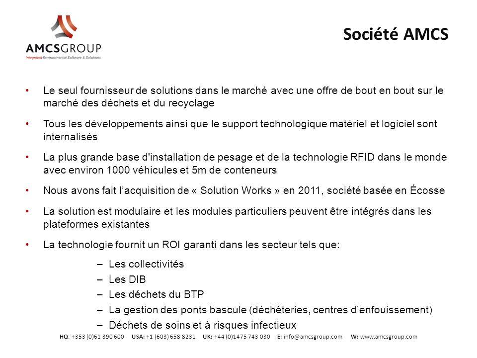 HQ: +353 (0)61 390 600 USA: +1 (603) 658 8231 UK: +44 (0)1475 743 030 E: info@amcsgroup.com W: www.amcsgroup.com Société AMCS Le seul fournisseur de s
