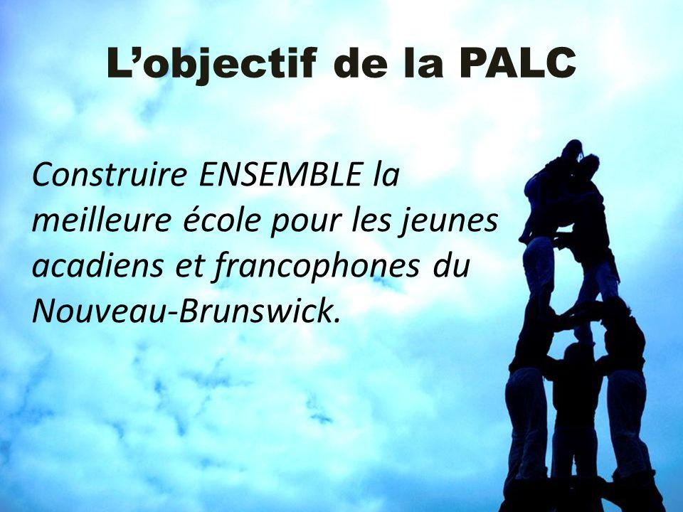Lobjectif de la PALC Construire ENSEMBLE la meilleure école pour les jeunes acadiens et francophones du Nouveau-Brunswick.