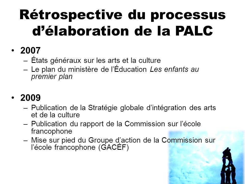 Rétrospective du processus délaboration de la PALC 2007 –États généraux sur les arts et la culture –Le plan du ministère de lÉducation Les enfants au