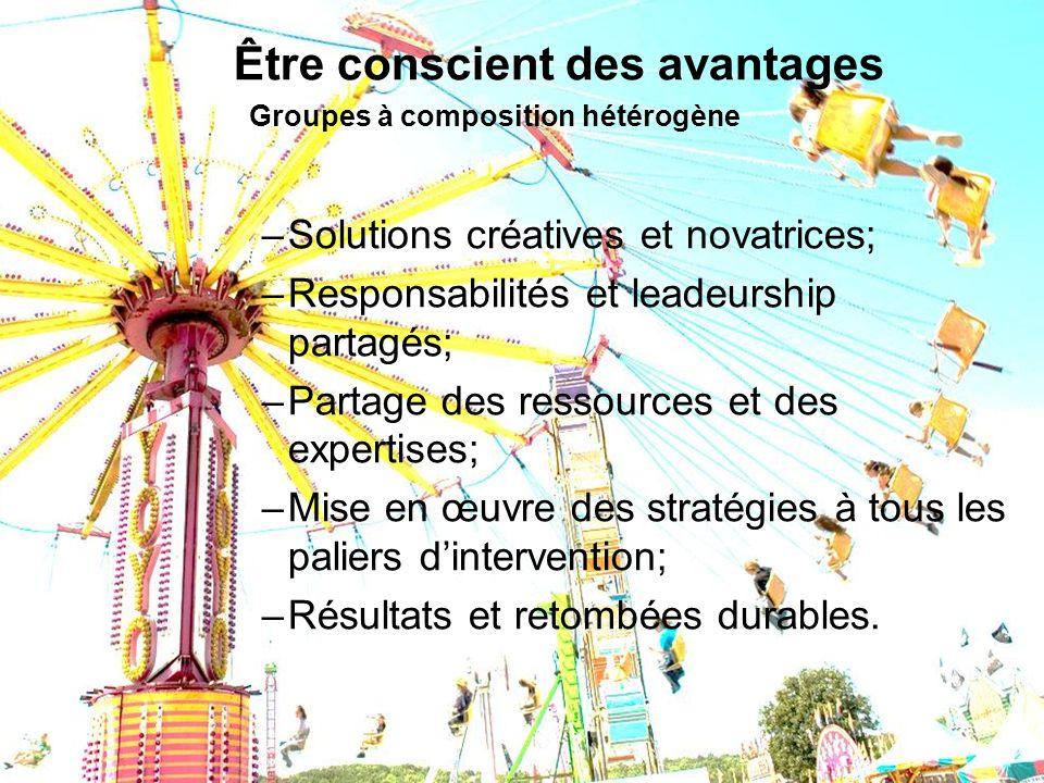 Être conscient des avantages Groupes à composition hétérogène –Solutions créatives et novatrices; –Responsabilités et leadeurship partagés; –Partage d