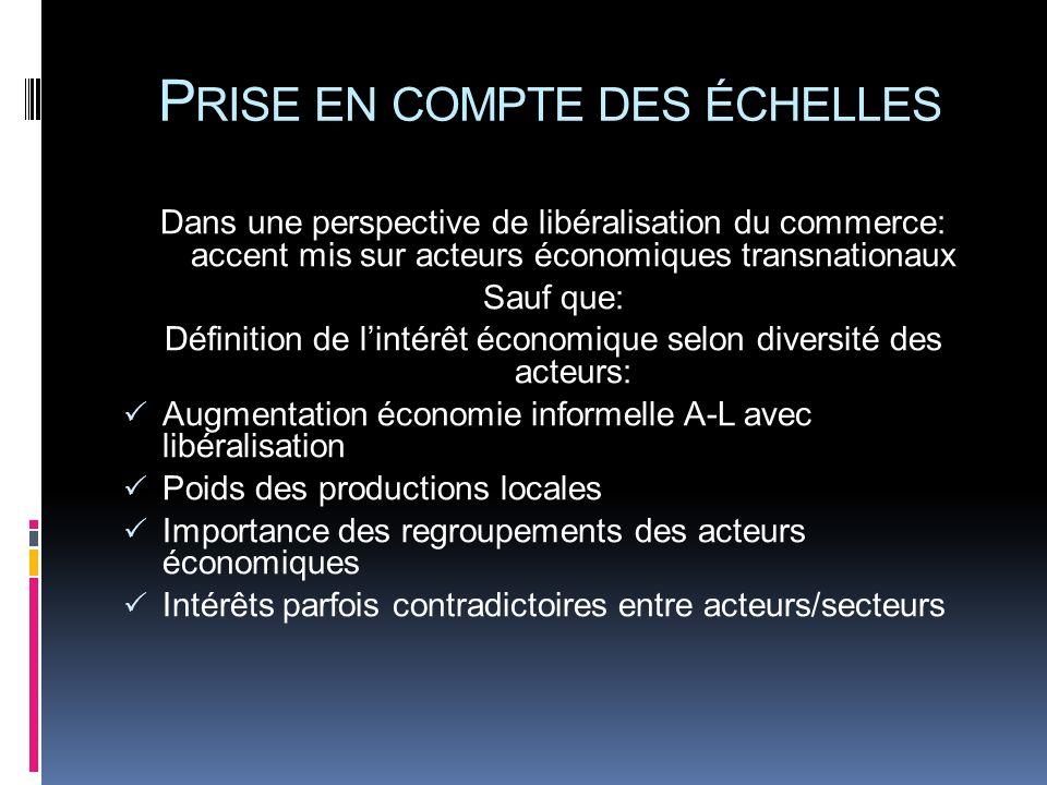 P RISE EN COMPTE DES ÉCHELLES Dans une perspective de libéralisation du commerce: accent mis sur acteurs économiques transnationaux Sauf que: Définiti