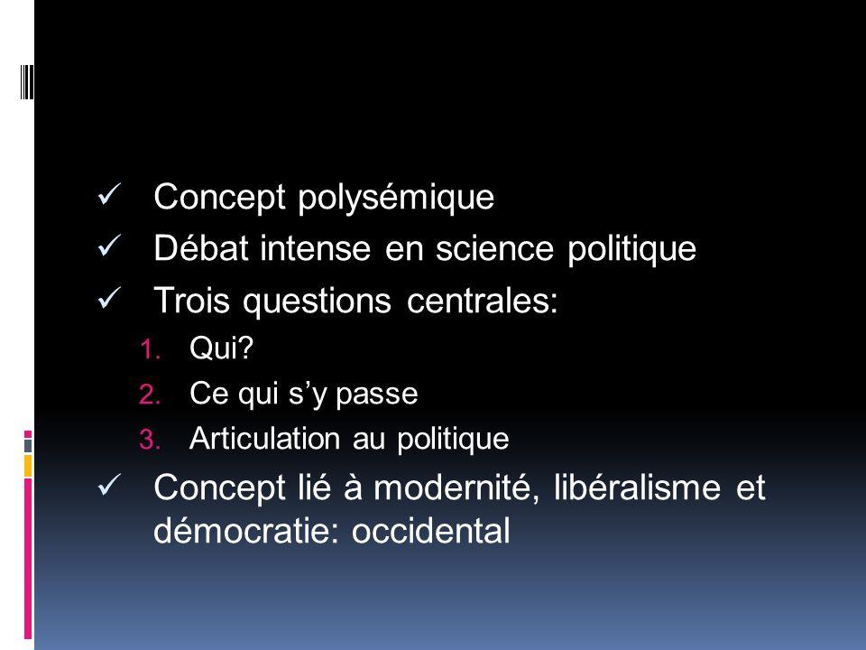 Concept polysémique Débat intense en science politique Trois questions centrales: Qui? Ce qui sy passe Articulation au politique Concept lié à moderni