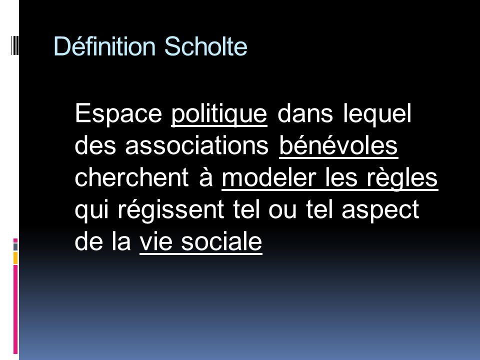 Définition Scholte Espace politique dans lequel des associations bénévoles cherchent à modeler les règles qui régissent tel ou tel aspect de la vie sociale