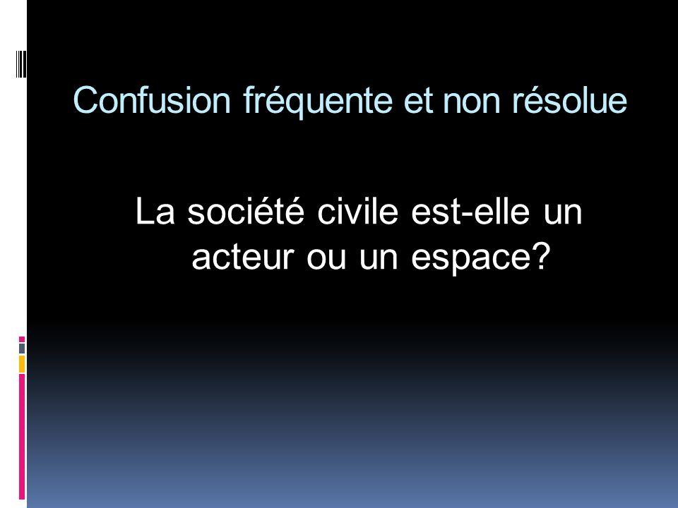 Confusion fréquente et non résolue La société civile est-elle un acteur ou un espace?