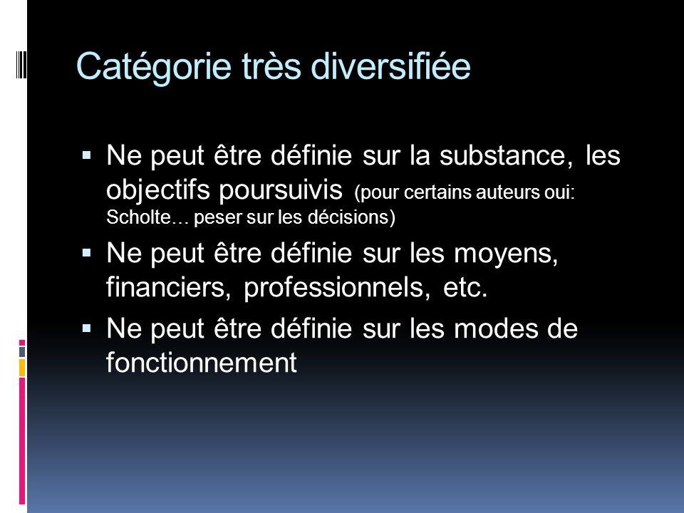 Catégorie très diversifiée Ne peut être définie sur la substance, les objectifs poursuivis (pour certains auteurs oui: Scholte… peser sur les décisions) Ne peut être définie sur les moyens, financiers, professionnels, etc.