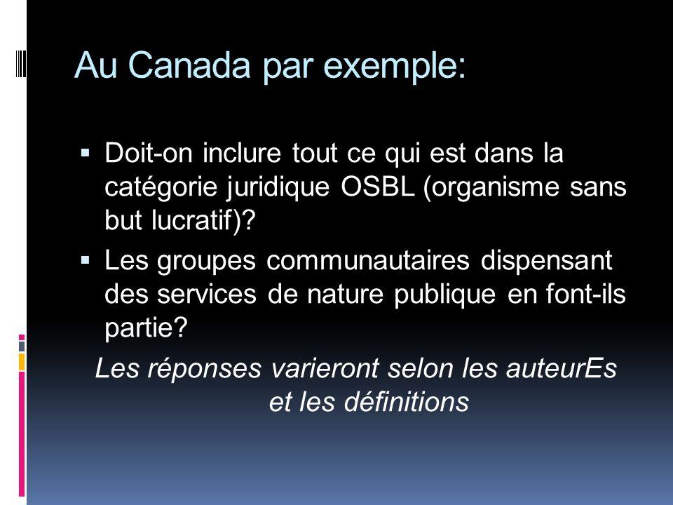 Au Canada par exemple: Doit-on inclure tout ce qui est dans la catégorie juridique OSBL (organisme sans but lucratif)? Les groupes communautaires disp