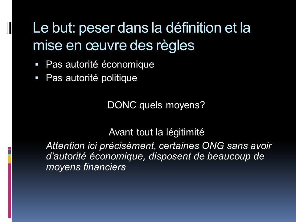 Le but: peser dans la définition et la mise en œuvre des règles Pas autorité économique Pas autorité politique DONC quels moyens? Avant tout la légiti