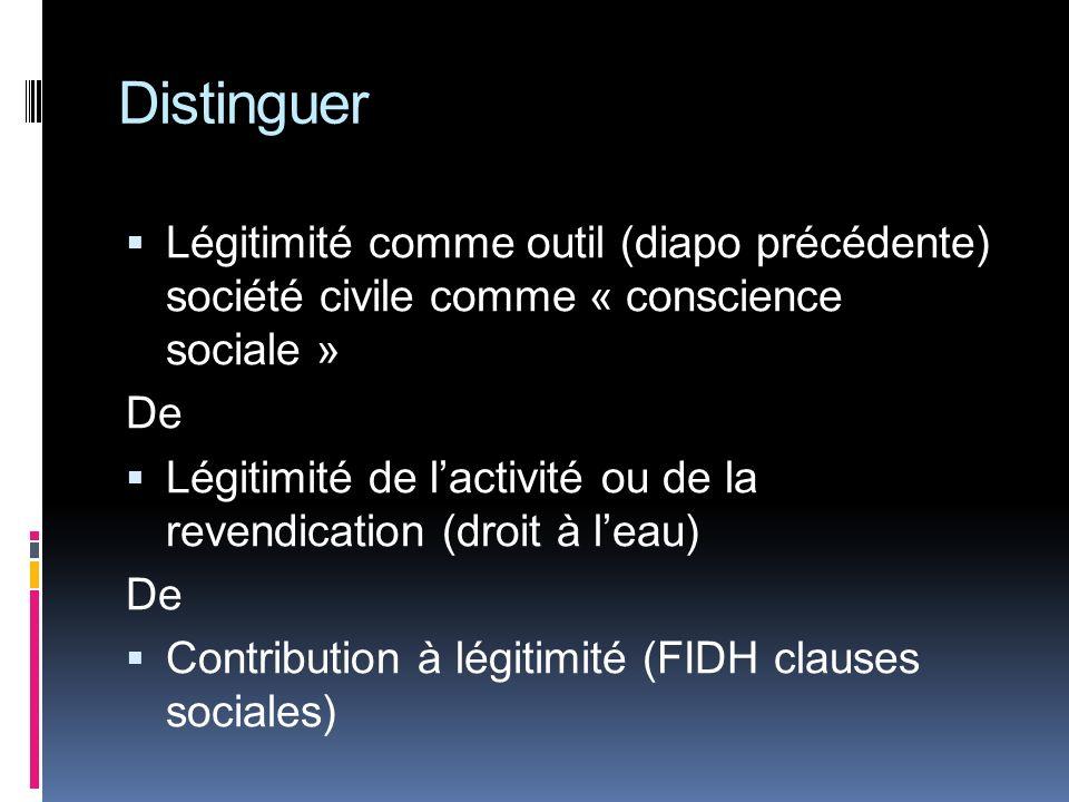 Distinguer Légitimité comme outil (diapo précédente) société civile comme « conscience sociale » De Légitimité de lactivité ou de la revendication (droit à leau) De Contribution à légitimité (FIDH clauses sociales)