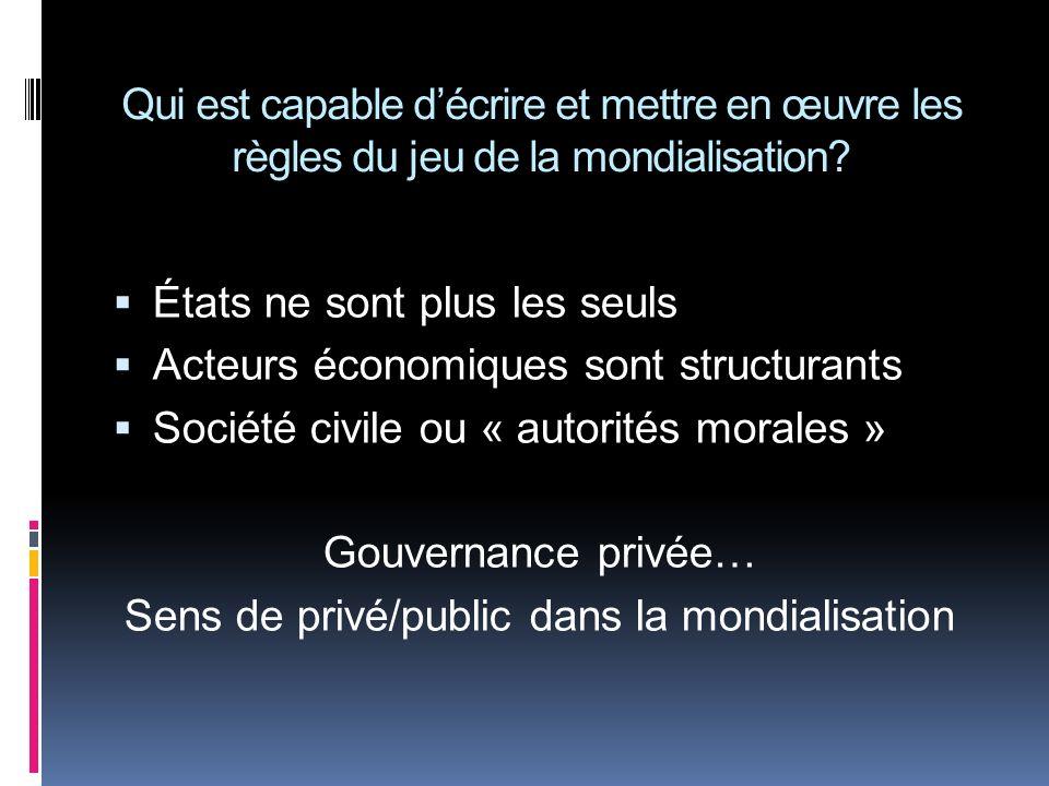 Qui est capable décrire et mettre en œuvre les règles du jeu de la mondialisation? États ne sont plus les seuls Acteurs économiques sont structurants