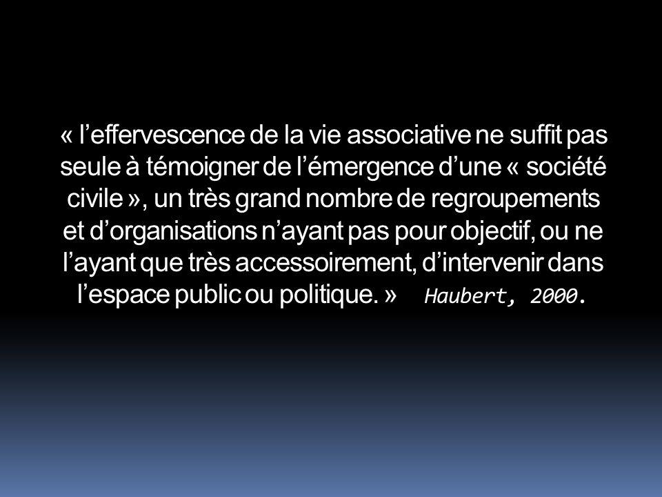 « leffervescence de la vie associative ne suffit pas seule à témoigner de lémergence dune « société civile », un très grand nombre de regroupements et