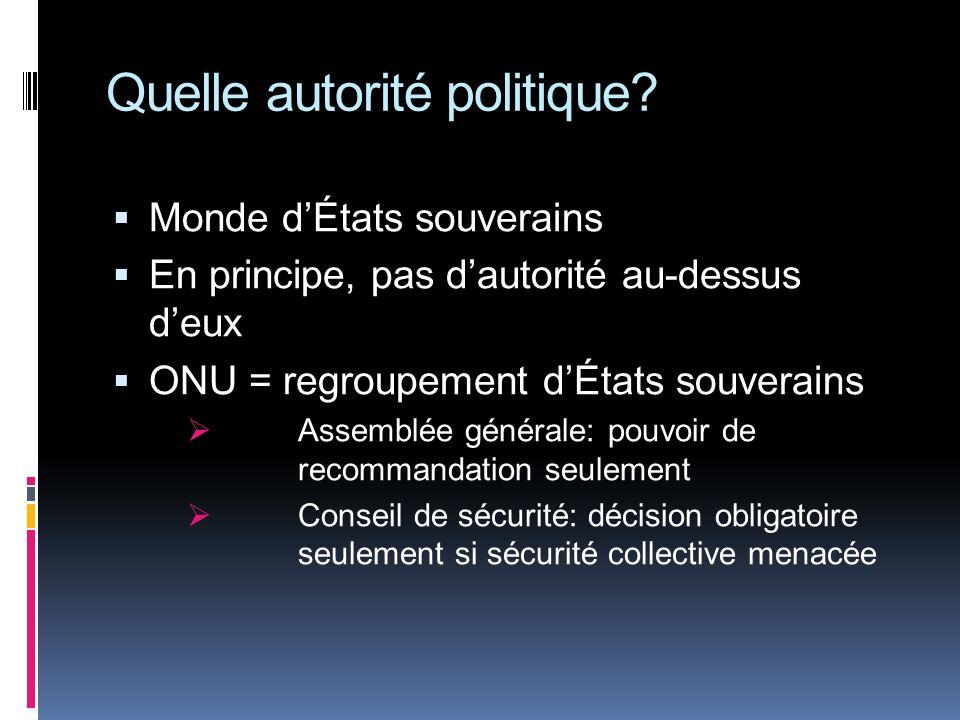Quelle autorité politique? Monde dÉtats souverains En principe, pas dautorité au-dessus deux ONU = regroupement dÉtats souverains Assemblée générale:
